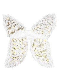 Ailes en plumes blanches et doré