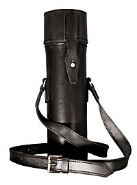 Thermos flask with leather covering