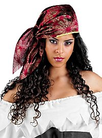 Bandana de pirate bordeaux et or