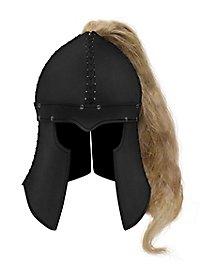 Barbuta aus Leder schwarz