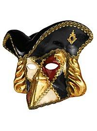 Bauta con capello scacchi colore - Venetian Mask