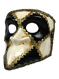 Bauta scacchi bianco nero - Venetian Mask