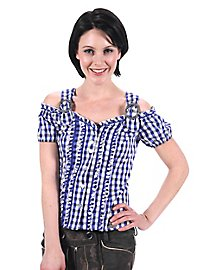Bavarian Style Checked Blouse blue & white