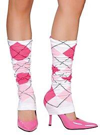 Beinstulpen Karomuster weiß pink