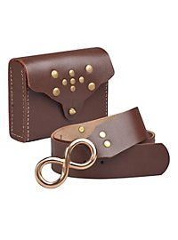 Belt with belt pouch brown