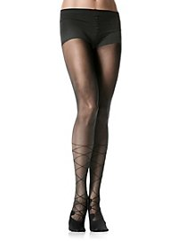 Black pantyhose with lace-up boots