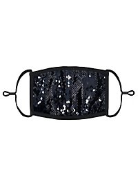 Black-silver reversible sequins Mouth and nose mask