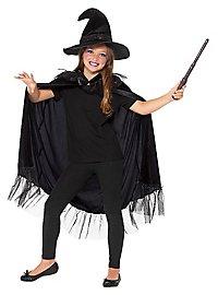 Black witch costume set for children