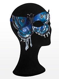 Blau-goldener Schmetterling  Halbseitige Augenmaske aus Leder