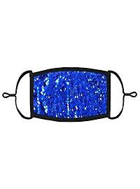Blau-silber Wendepailletten Mund-Nasen-Maske