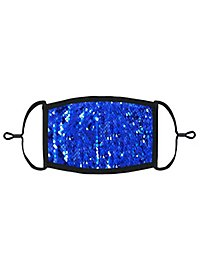 Blue-silver reversible sequins Mouth and nose mask