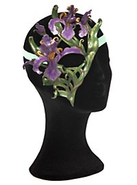 Blütenzauber lila Orchidee Halbseitige Augenmaske aus Leder