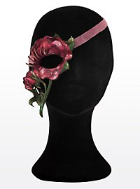 Blütenzauber rote Rose Halbseitige Augenmaske aus Leder