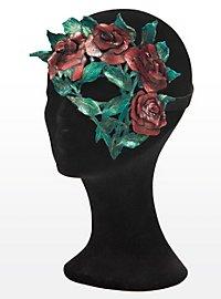 Blütenzauber rote Rosen Halbseitige Augenmaske aus Leder