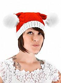 Bonnet de Noël tricoté à pompons