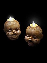 Bougies chauffe-plat d'Halloween Têtes de poupée lugubres
