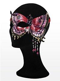 Braun-silberner Schmetterling  Halbseitige Augenmaske aus Leder