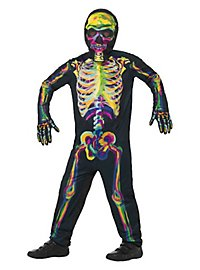 Brightly coloured illuminated skeleton children's costume