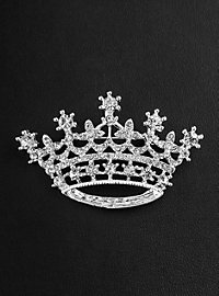 Broche argentée couronne en strass