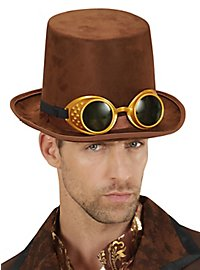 Brown top hat with glasses