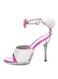 Bunny Schuhe mit Puschel pink-weiß