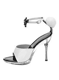 Bunny Schuhe mit Puschel schwarz-weiß