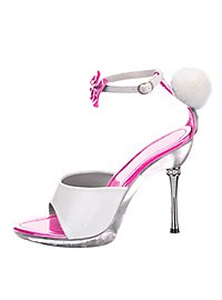 Bunny Shoes with Bobble pink-white