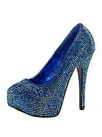 Bunt Strass High Heels blau
