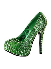 Bunt Strass High Heels grün