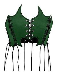 Bustier de sorcière en cuir vert