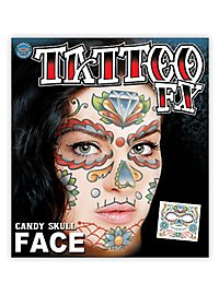 Candy Skull Temporary Face Tattoo