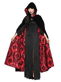 Cape à capuche en velours noire et rouge