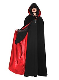 Cape à capuche noir et rouge
