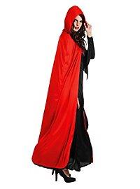 Cape à capuche rouge et noir réversible
