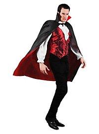 Cape de vampire courte rouge et noir réversible