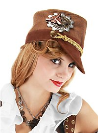 Casquette de cadet steampunk marron