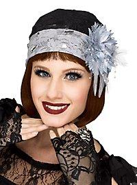 Chapeau cloche & mitaines noir et gris