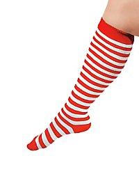 Chaussettes rouge et blanc à rayures