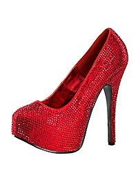 Chaussures à talons hauts rouges à strass