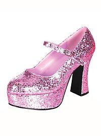 Chaussures compensées à paillettes roses