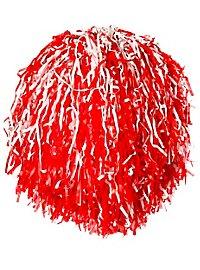 Cheerleader Pompom rot-weiß