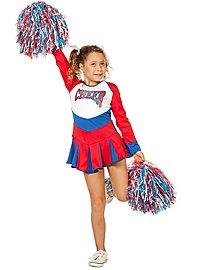 Cheerleaderin Kinderkleid rot-blau