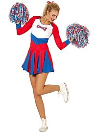 Cheerleaderin Kleid rot-blau