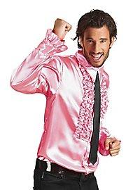 Chemise à ruchés rose de chanteur