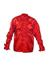 Chemise à ruchés rouge de chanteur