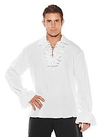 Chemise de pirate à volants blanche