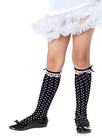 Children's stockings dotted black-pink