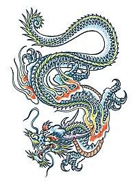 Chinesischer Drache Klebe-Tattoo XL
