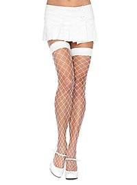 Coarsely meshed fishnet stockings white