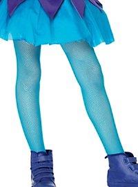 Collants fille résille bleu fluo enfant
